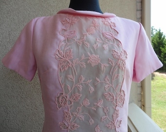Pink Dress With Embroidered Front Panel