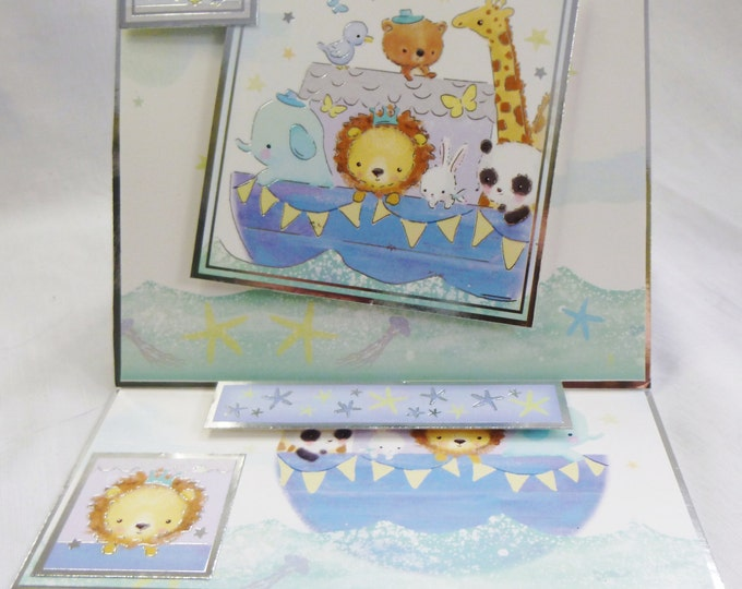 New Baby Card, Baby Boy, Congratulations, New Arrival, Easel Shaped Card, Animals in a Boat, Son, Nephew, Grandson, Brother