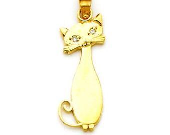 14k Yellow gold Cat charm w/ .01ct.dia.