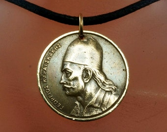 1976 GREECE necklace / GREEK coin jewelry / COIN necklace / mens necklace / vintage coin pendant charm. No.001900