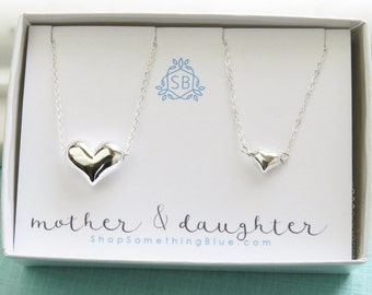 Mother's Day Gift • Mother & Daughter Heart Necklace Set • Floating Heart Jewelry • Mother's Love Gift • Mom and Daughters