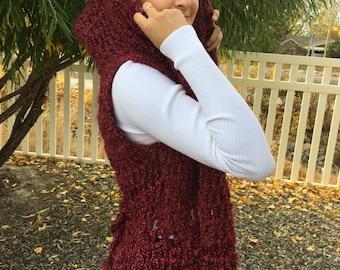 Burgundy Hooded Vest