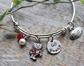 Wisconsin Badgers Bracelet, Wisconsin Jewelry, Badgers, UW-Wisconsin, Bucky Badger, University of Wisconsin, Go Bucky