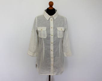 White Linen blouse Ivory linen shirt  3/4 sleeve Boho Hippie Top Shirt White Linen Tunic Buttons up Peasant Summer Blouse  Medium Size