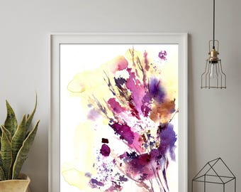 Abstract botanical art print, abstract leaves watercolor painting print, pink purple abstract wall art print