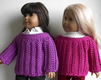 18 Inch Doll Clothes Crocheted Ribbed Sweater handmade to fit American Girl and Similar Dolls in Purple or Pink - You Choose Color