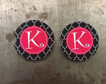 Car Coaster, Set of 2 Moroccan Car Coasters l Monogram Personalized Sandstone Vehicle Coasters Car Cup Holder Custom Set
