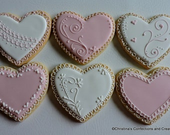 Large Romantic Hand Decorated Sugar Cookies for Valentine's Day or other special occasions (#2403)