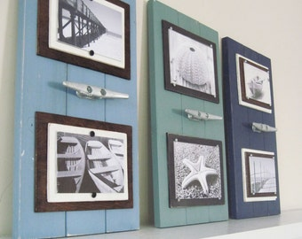 Set of 3 Double 4x6 Marina Blue, Dusty Turquoise and Navy Plank Frames with Boat Cleat