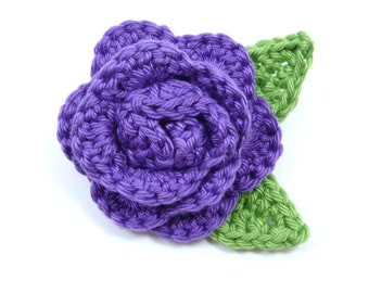 Crochet brooch. Purple crochet rose brooch, Mother's day gift, birthday gift, brooch pin,  flower corsage, Christmas gift, gift for her.
