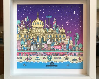 Brighton moonlight artwork. Limited edition giclee print of 150, available as a giclee print with or without a white frame.