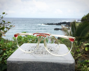 Vintage 1980's Red and Clear Neo Vision Oversized Plastic Eyeglasses