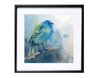 Bird art prints bird watercolour Pint, Indigo Bunting Turquoise bird art prints Wildlife painting Blue painting 10 x 10