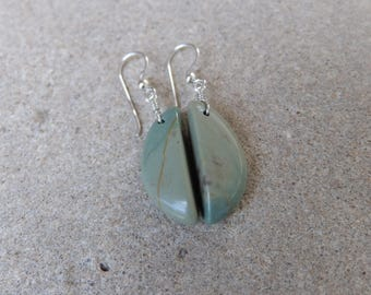 Beach pebble earings -  natural stone jewelry - cut from one little rock - unique beach stone jewelry - green grey