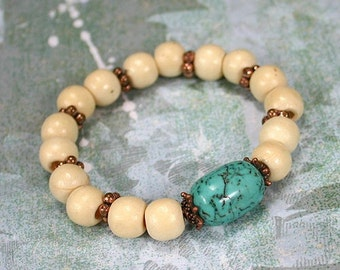 Yoga Mala Bracelet Wood Copper and Oval Turquoise Beads