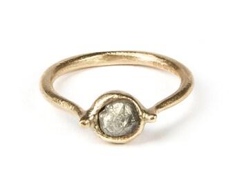 Rough Diamond Ring, Uncut Diamond Ring, Yellow Gold Diamond Ring, Raw Diamond Ring, Diamond Crystal Ring, Rustic proposal Ring