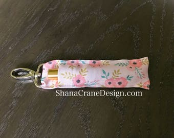 One Clip-On Lip Gloss Holder . Pastel Pink Floral