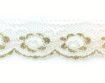 Metallic Gold White Lace Trim 19 yds Embellishment 1-1/4' Wide
