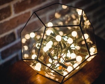 Large Terrarium Dodecahedron  Stained glass vase  Planter for indoor gardening  Candle holder  Stained glass dodecahedron