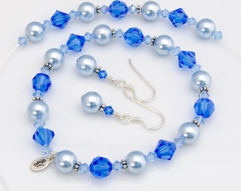 Blue Jewelry Set Blue Bridesmaid Jewelry Set of 3 Piece Bridesmaid Gift with Swarovski® Sapphire Crystal and Light Blue Pearl, 3 Piece Set