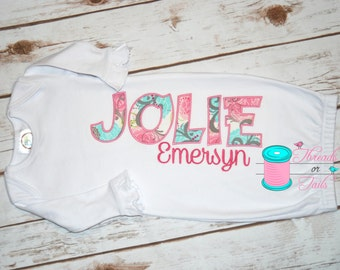 Baby Gown, Applique Gown, Baby Girl Gown, Baby Boy Gown, Baby gown with applique and embroidered name