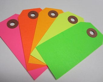 50 Neon / Fluorescent Tags - Pick Your Color Mix