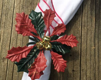 Set of 8 Poinsettia Napkin Holders- Holiday- Christmas- Flowers- Bells