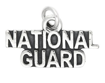 Sterling Silver National Guard Charm (flat)