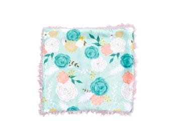 Mint Floral Minky Blanket, Minky Baby Blanket, Floral Baby Blanket, Spring Baby Blanket, Newborn Blanket, Aqua Floral Blanket, Plush Blanket