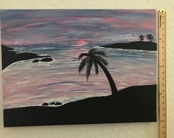 Blue / Pink Silhouette Sunset with Palm Trees Acrylic 18 X 24 Stretched Canvas Art Painting
