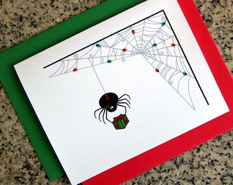black widow spider with lit up web christmas greeting cards / notecards / thank you notes (blank or custom inside) with envelopes set of 10