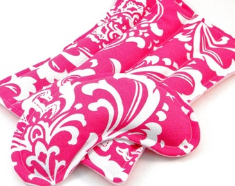 Microwave Warming Pads, Heat Pack Eye Pad, Hot or Cold Gift for Teens, Girls, Moms, Heating Flax Seed Rice Bag, Hot Pink