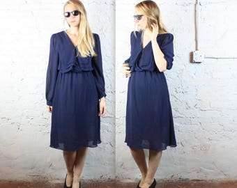 1970's Sheer Navy Billowy Dress in Women's Medium or Large . Elegant Cocktail Party Dress Pleated Bust Curves Curvy Bishop Sleeves