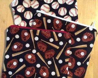 Zipper pouch - you choose baseball theme