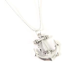 Anchor Necklace, Silver Anchor Necklace, charm necklace, Anchor Jewelry, Anchor Pendant, Beach Jewelry, Charm Necklace, Large Anchor