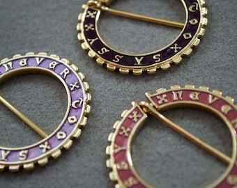 "Purple Medieval Annular Brooch ""NEVER TOO SASSY"""