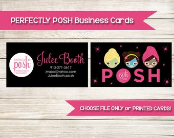 PERFECTLY POSH | Business Cards | Custom | Printed | Girls Facial | Direct Sales