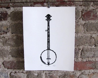 Banjo Bluegrass Limited Edition Print - Music Wall Art