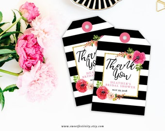 Bridal Shower Favor Tags, Bottle Tags, Gift Tags, Spade, Black and White Stripes, Pink Floral, Watercolor, Printable Favor Tags