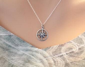 Sterling Silver Starburst Compass Necklace, Compass Necklace, Travel Necklace, Sterling Silver Travel Compass Necklace, Starburst Compass