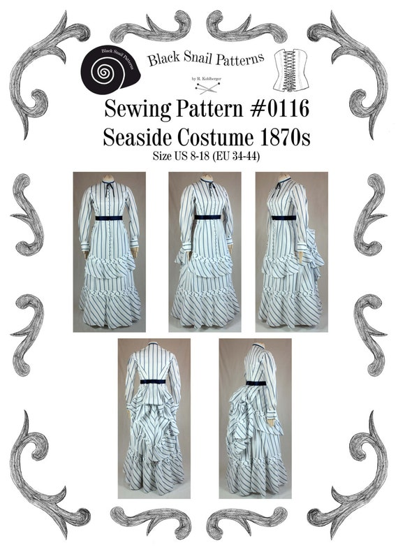 Victorian Dress Seaside Costume Sewing Pattern 0116 Size US