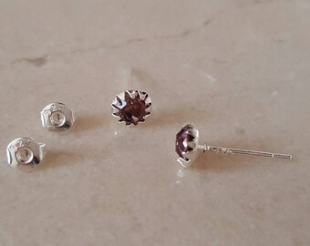 1 pair of earrings in 925 sterling silver and Crystal 5 mm