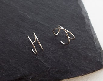 Criss Cross Ear Cuff - Set of 2 Ear Cuffs - Double Ear Cuff - No Piercing - Cartilage  Fake Piercing - Ear Wrap - Conch Earring - Helix Hoop