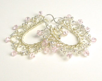 Wire Lace - Wirewrapped Lacy Silver earrings