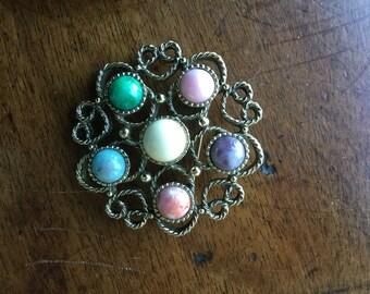 Vintage Sarah Coventry Multi Stone Pin