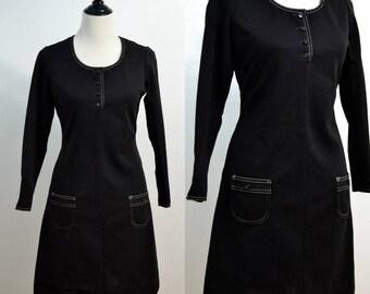 1960s 1970s Stacy Ames Mini Dress / Little Black Dress / 60s 70s Vintage Dress / Medium M / Large L / Dress with Pockets / Shift Dress