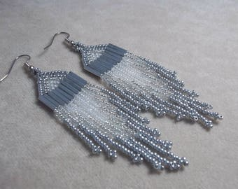 Carpal Tunnel Going Out of Business Sale! Heart of Glass, Silver and Crystal earrings, Metallic earrings, Long Fringe earrings, Wedding