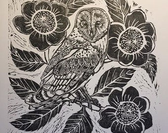 Barn Owl and Camellia lino block print