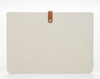 White Felt Macbook Case - Mac Pro 15 Retina Sleeve - Macbook Pro Retina 15 Sleeve - Macbook Protection - Laptop 15 Case