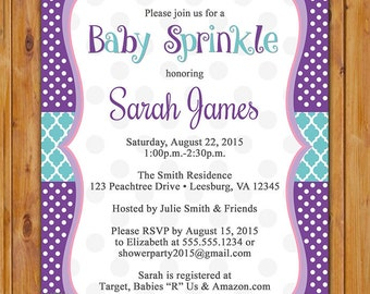 Baby Girl Sprinkle Invitation Purple Aqua Polka dots Shower Invite DIY Printable 5x7 Digital JPG file (507)